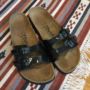 Birkenstock Betula Black Patent Two Strap Sandal 9